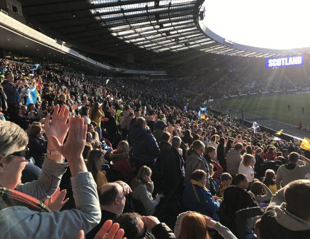 Crowd at Scotland football match at Hampden Park