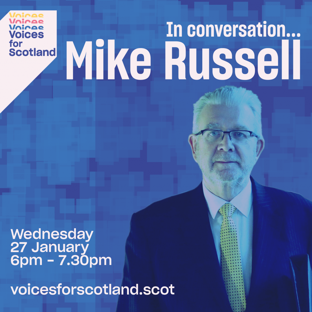 Poster for event with Mike Russell